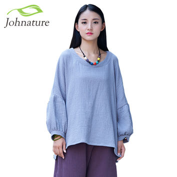 Johnature Women T-Shirts Double Cotton Linen Lantern Sleeve O-neck 2017 Spring New Loose 4 Colour Women Tops Vintage Shirt