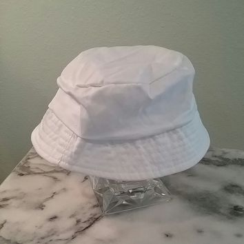 WHITE Bucket Hat Cap Cotton Women Fishing Boonie Brim Sun Safari Summer Camping