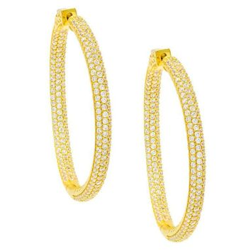 Medium Round Pave Hoops