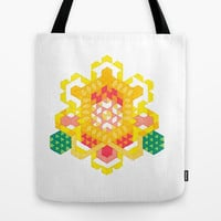 Canvas Tote Bag - Yellow Lotus Rose Tote