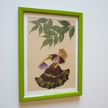 "Unique picture from pressed flowers ""Melody of Nature"" - Pressed flowers art - Original art collage - Home decor wall art - Framed picture."