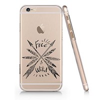 Free & Wild Arrow Clear Transparent Plastic Phone Case for iphone 6 6s_ SUPETRAMPshop