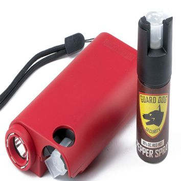 Guard Dog All-In-One Stun Gun-Flashlight-Pepper Spray -Red