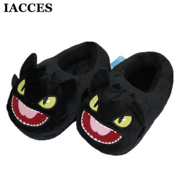 IACCES Cartoon Soft Stuffed Pantufa Night Fury Toothless Slippers Indoor Winter Warm Shoes Face Doll Plush Lovely Toy Slippers
