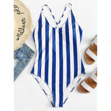 Crisscross Back Striped Swimsuit