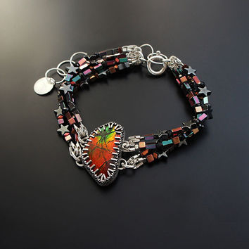 Silver Bracelet With Ammolite