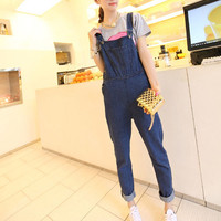 Womens Casual Washed Jeans Denim Jumpsuit Romper Blue Pant Trousers Overalls