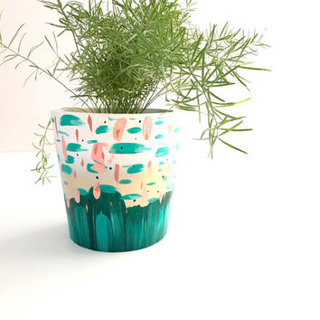MEDIUM Painted Pot Planter Round Wood Container / White Teal Coral Peach Gold / gift for her office decor apartment decor Plant holder