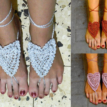 Sparkling bridal crochet barefoot sandals heart shape beach wedding belly dance yoga crocheted lace READY TO SHIP