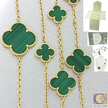 Van Cleef & Arpels Alhambra 16 Motifs Malachite 18k Gold Necklace w/Box Papers