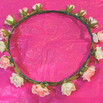 Baby Pink and White Roses Crown