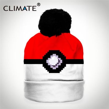 CLIMATE 2018 Women Winter Warm Hat Beanie Funny Pixel Style Pokemon Knitted Warm Hat Pocket Monster Ball Girl Pompon SkulliesHat