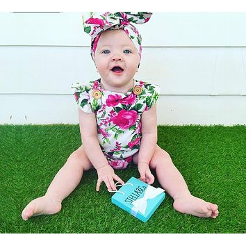 Floral Baby Clothes Newborn Baby Girl Clothing Romper + Headband Overalls Clothes Girls Dresses Flower Women's Beach Suit