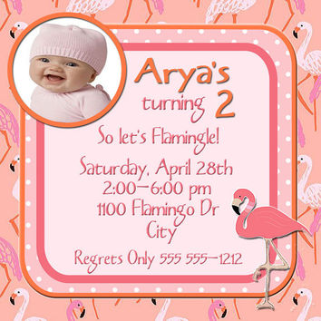 Birthday Invitation-Birthday Card- Flamingo Party- 5 X 5 -1 Sided