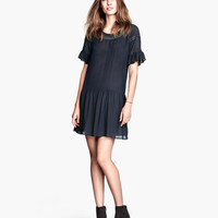 H&M - Viscose Dress - Dark blue - Ladies