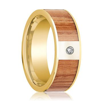 Mens Wedding Band 14k Yellow Gold with Red Oak Wood Inlay & Diamond - 8mm
