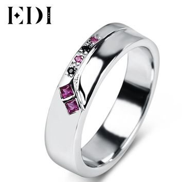 EDI Ruby Gemstone Silver Engagement Ring 925 Sterling Silver White Gold Plated Natural Ruby Sapphire Women Men Wedding Ring Band