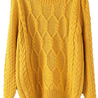 ROMWE | Twisted Knited Loose Yellow Jumper, The Latest Street Fashion