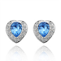 Blue Heart Swarovski Crystal White Gold Plated Earring