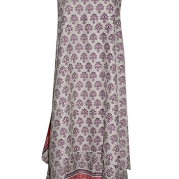 Mogul Wrap Skirt PREMIUM Silk Sari Reversible Beige Long Skirt Multi Wear Dress
