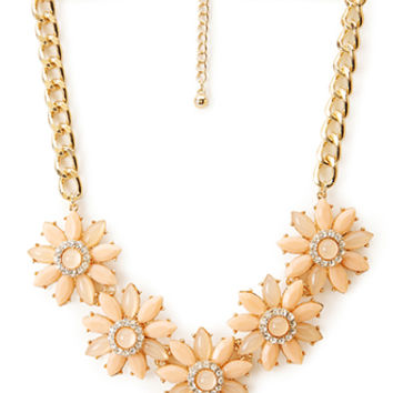 FOREVER 21 Fancy Floral Bib Necklace Peach/Gold One