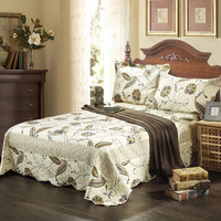Tache 3 Piece Floral Yellow and Grey Seasons Eve Reversible Bedspread ,Quilt Set- King
