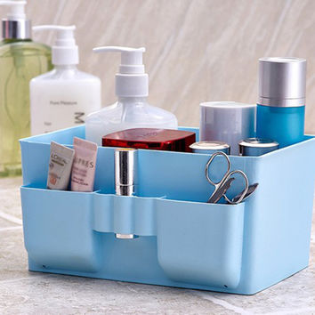 Brand New Large Capacity Cosmetic Organizer box Plastic Makeup Cosmetics display Storage Box Desk Table Oragnizer Case