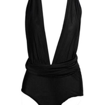 Front Open Back V Cross Beach Rompers