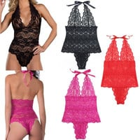 Hot 2016  Women Sexy Lingerie Sheer Stretch Lace Teddy One Piece Thong Bodysuit  Plus Size