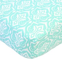 Aqua Damask - Crib Sheet