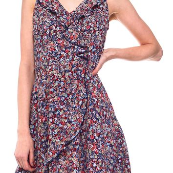 Teeze Me | Sleeveless V Neck Printed Ruffle Surplice Faux Wrap Dress  | Navy/Multi