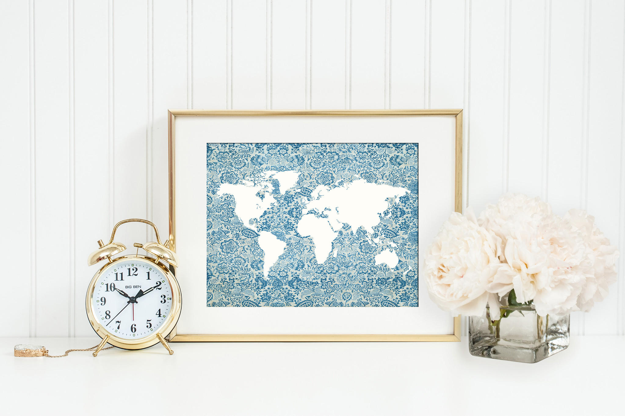 Blue floral world map print map from istria design gumiabroncs Image collections