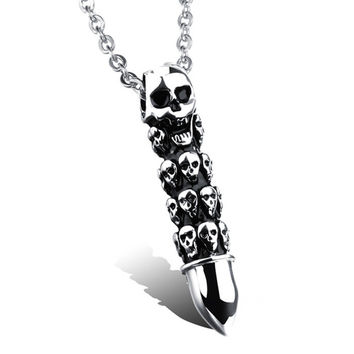 Skull Bullet Stainless Steel - Necklace
