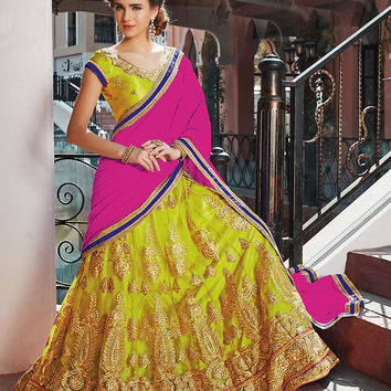 Women's Net Fabric & Parrot Green Color Pretty A Line Lehenga Style With Lace Work Dupatta