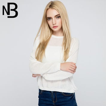 Fall Fashion Linen Knit Pullover Round-neck Tops Sweater [8906289351]