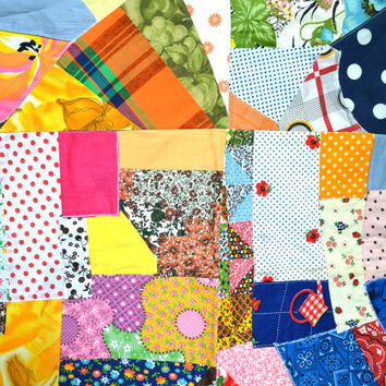 Vintage Quilt Top, Crazy Quilt, Pieced Quilt Top, Crib Quilt Top, Fabrics, Polka Dots, Stripes, Florals, 26 x 39