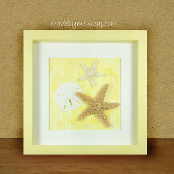 Beach Decor.  Seashell Shadow Box Framed Art for Coastal Inspired Home.  Sunny Yellow