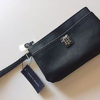 NWT Tommy Hilfiger Black Imitation Leather Wristlet Clutch