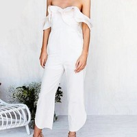 Off Shoulder Ruffled Jumpsuit - White