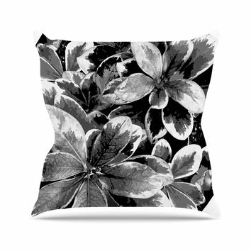 "Julia Grifol ""Leaves In Gray"" Floral Black Throw Pillow"