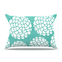 """Pom Graphic Design """"Hydrangea's Blossoms"""" Teal Circles Pillow Case"""