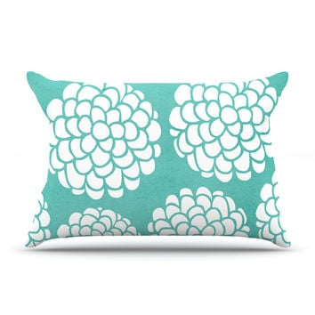 "Pom Graphic Design ""Hydrangea's Blossoms"" Teal Circles Pillow Case"