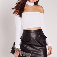 Missguided - Choker Ribbed Crop Top White