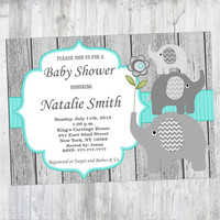 Rustic Baby Shower Invitations Boys Girl Gender Neutral Elephant Baby Shower Invitation Invites (01W) Free Thank You Card Instant Download