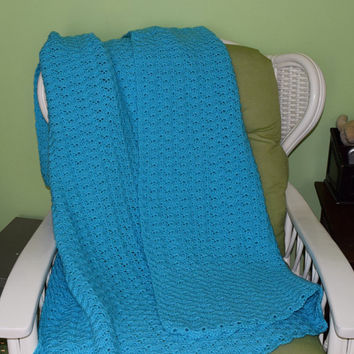 Large Turqua Crochet Blanket, Throw