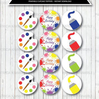 Printable Cupcake Toppers, Art Party Decorations, DIY, Rainbow, Paint, Artist, Colorful, Favors, Boy, Girl, Unisex, INSTANT DOWNLOAD
