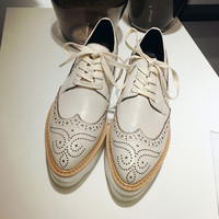 Genuine Leather Lace Up Brogue Shoes