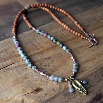 Sandalwood and African Turquoise 108 Bead Mala Necklace for Healing