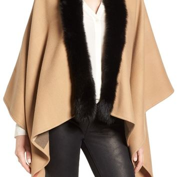 Burberry Charlotte Genuine Fox Fur Trim Reversible Cape | Nordstrom
