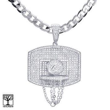 "Jewelry Kay style Men's Silver Plated Iced CZ Stone Basketball Pendant 24"" Cuban Chain BCH 13113 S"